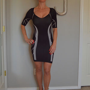 Black and gray Bebe mini bandage dress